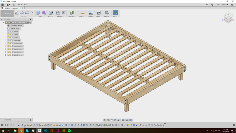 Modelling up the bed frame in Fusion 360