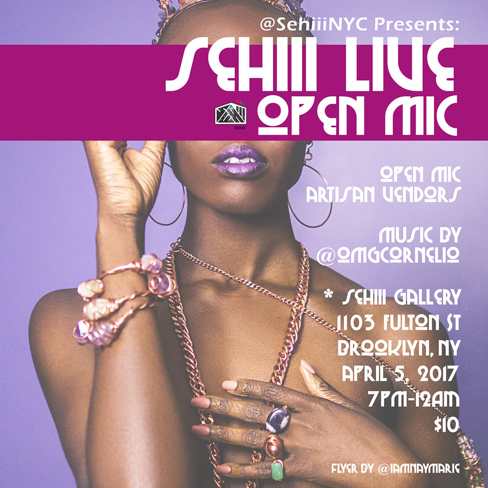 Wednesday April 5, 2017 @SehiiiNYCPresents:#SehiiiLive     •Live Performance •Art Exhibition •Pop Up Shop •Open Mic     Art By:    @dogfartcake2     @theonewillfocus     Music By: @omgcornelio    Sehiii Gallery    1103 Fulton St Brooklyn     7pm-12am     $10