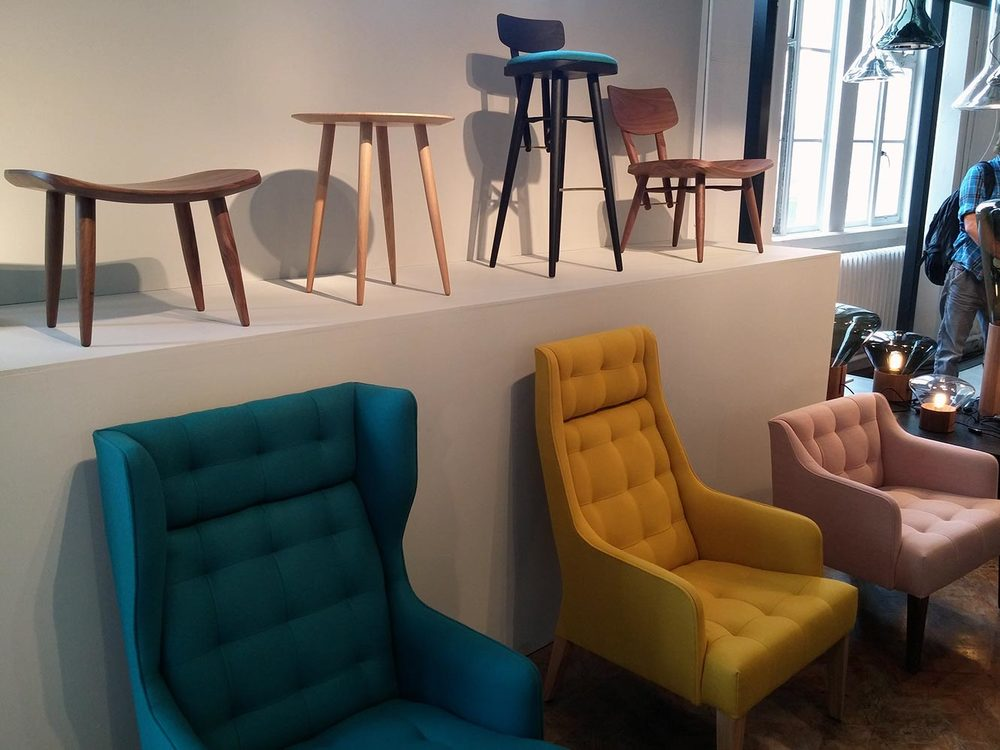 James Design  stood out for us, overall superb range of contemporary products. We especially liked the back feature on the chairs and stools.