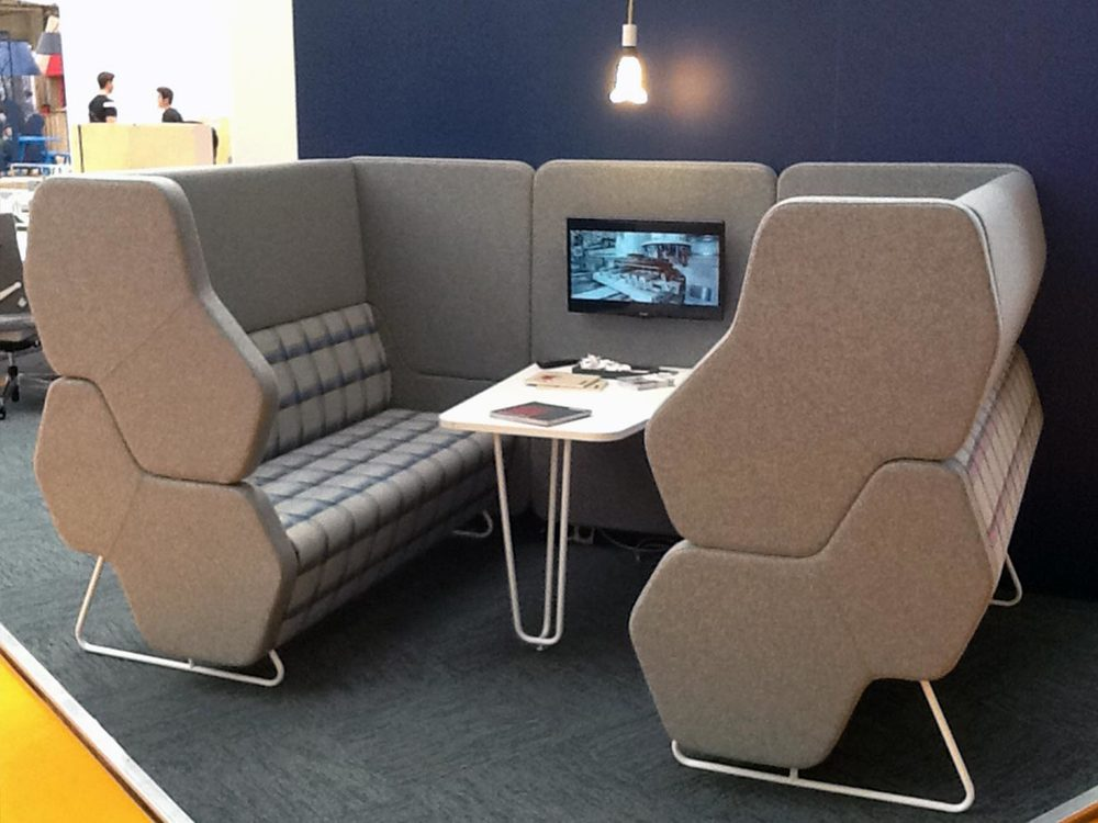 This modular meeting unit by  Nowy Styl Group  looked great and worked really well as a private seating booth.