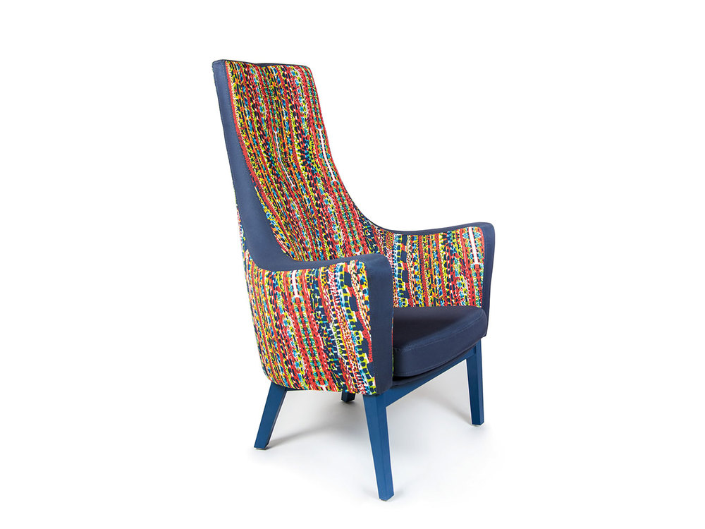 """This particular print design upholstered on the Cello Chair was inspired by the textural patterns on reptile skins, exploring the interaction with vibrant colour and a direction of Abstract Expressionism with these hand drawn organic marks, which created this very striking striped print."" -  Cory Burfoot (Student Designer)"