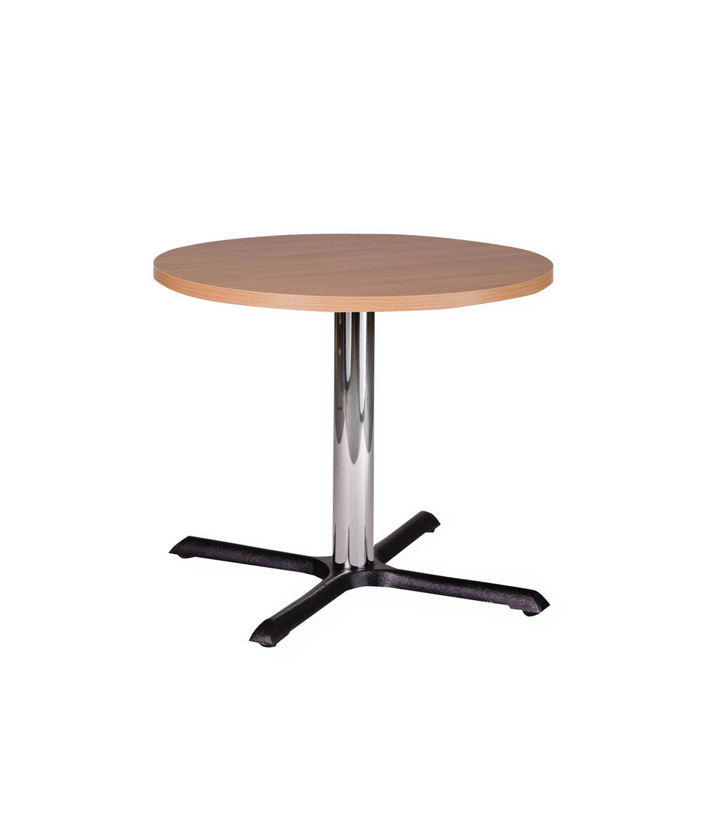 Orlando chrome dining height base with round oak top.jpg