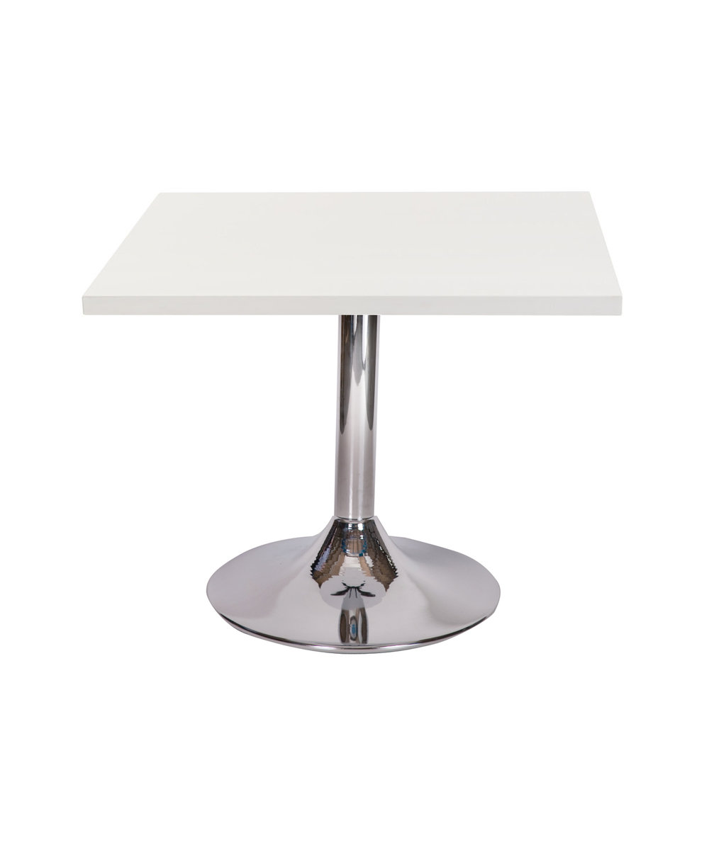Ramiro chrome trumpet dining base with Square White top.jpg