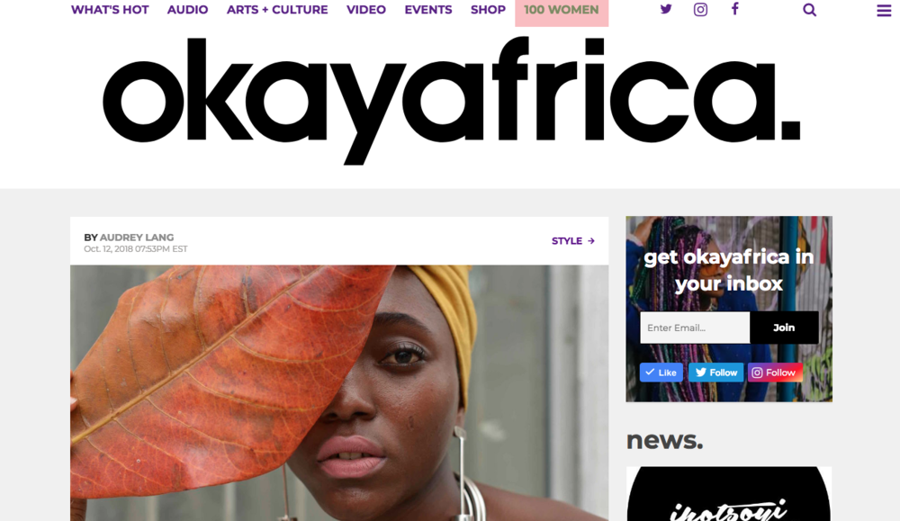 OKAY AFRICA 12.10.2018 - Read full article  HERE
