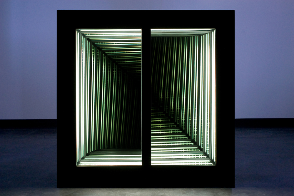 Traverse II , wood, tinted glass, mirror and fluorescent lights, 83 x 83 x 17cm. Photo: Pippy Mount.