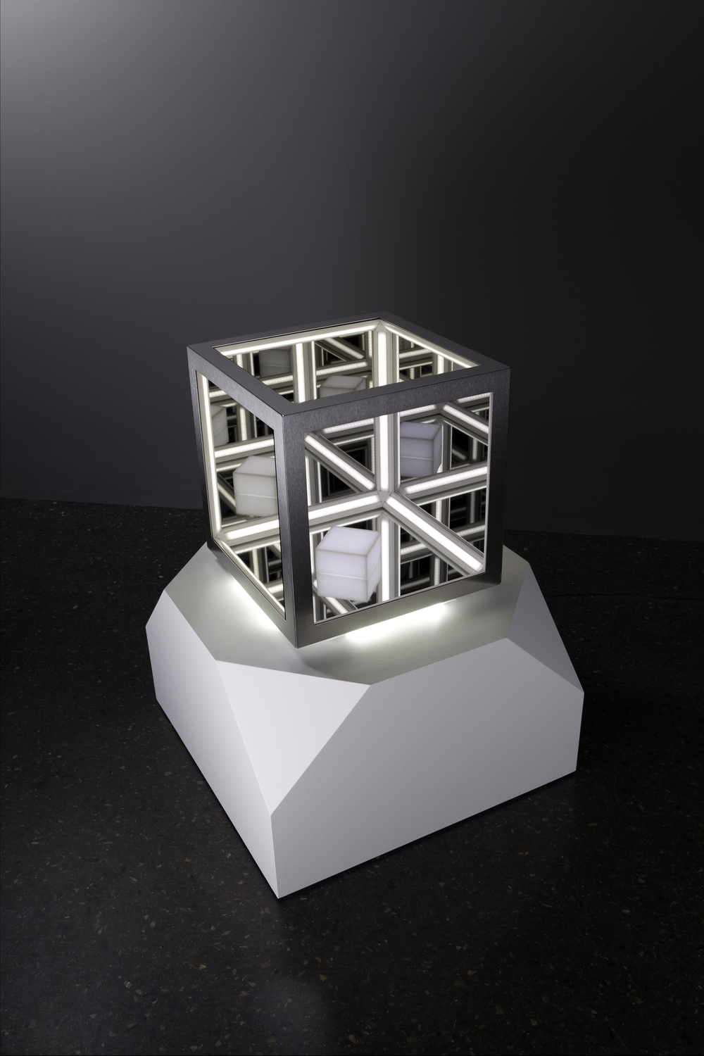 Cubed , wood, mirror, reflective glass, Perspex, stainless steel, MDF and LED lights, 76 x 60 x 60cm (including plinth). Photo: Pippy Mount.