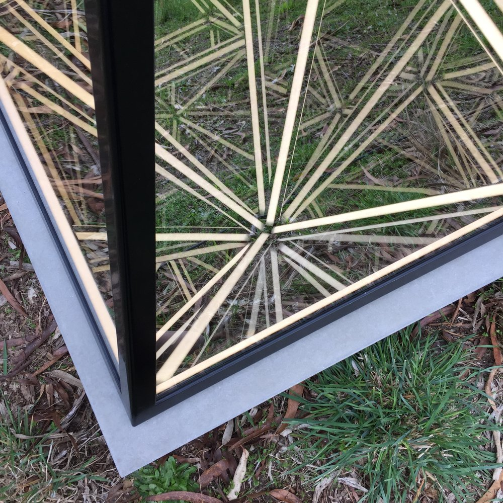 Light Shifter (detail),  powder coated stainless steel, reflective glass, mirror, LED lighting and concrete plinth, 120 x 85 x 85cm (including plinth). Photo: Pippy Mount.