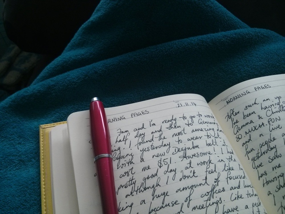 'Morning Pages' are three stream of consciousness journal pages introduced to the world by Julia Cameron in   The Artist's Way .  Kerryn has written a   Quick Guide to Morning Pages   if you'd like to know more.