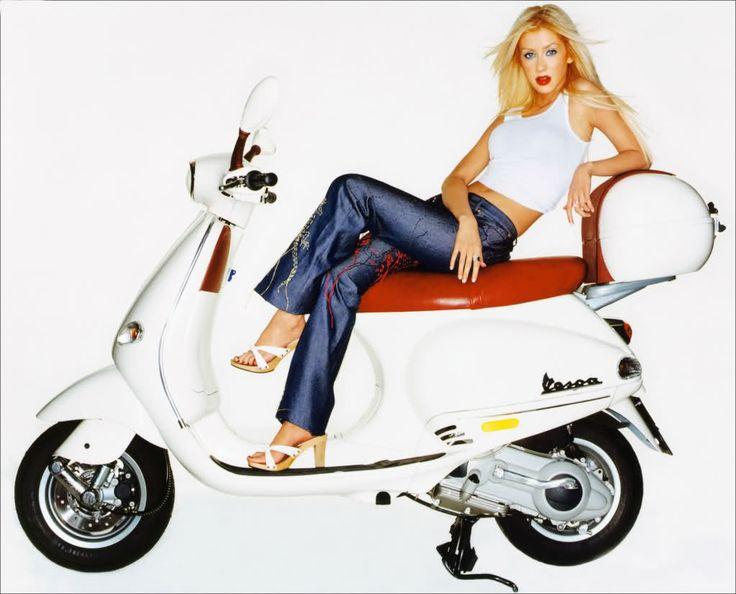 Christina Aguilera on a Beautiful White Vespa