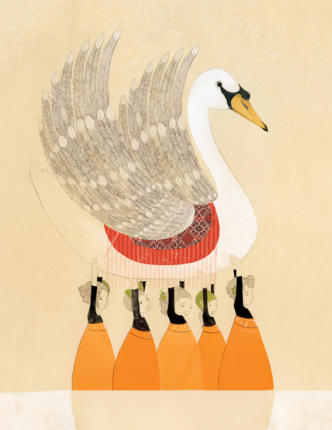 Swan Girls, gouache, pencil, cut paper, digital