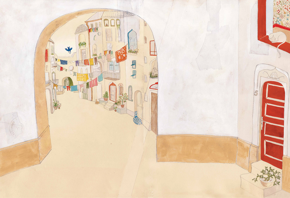 Alleyway, oil paint, gouache, pencil,  Bluebird,  Simply Read Books & Donzelli Editore