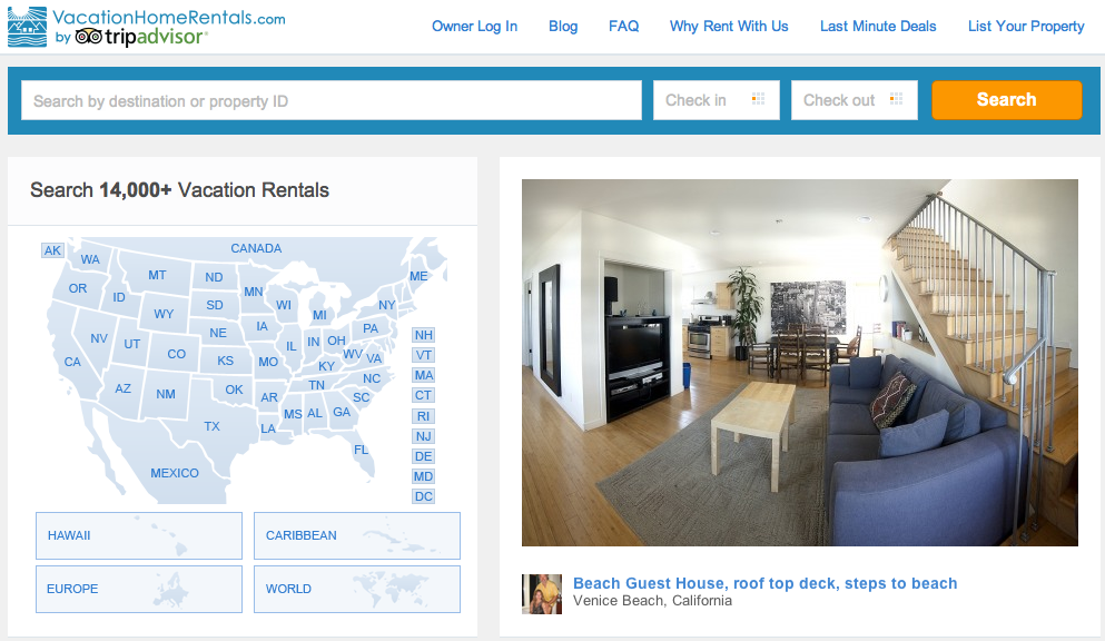 VacationHomeRentals.com homepage screenshot