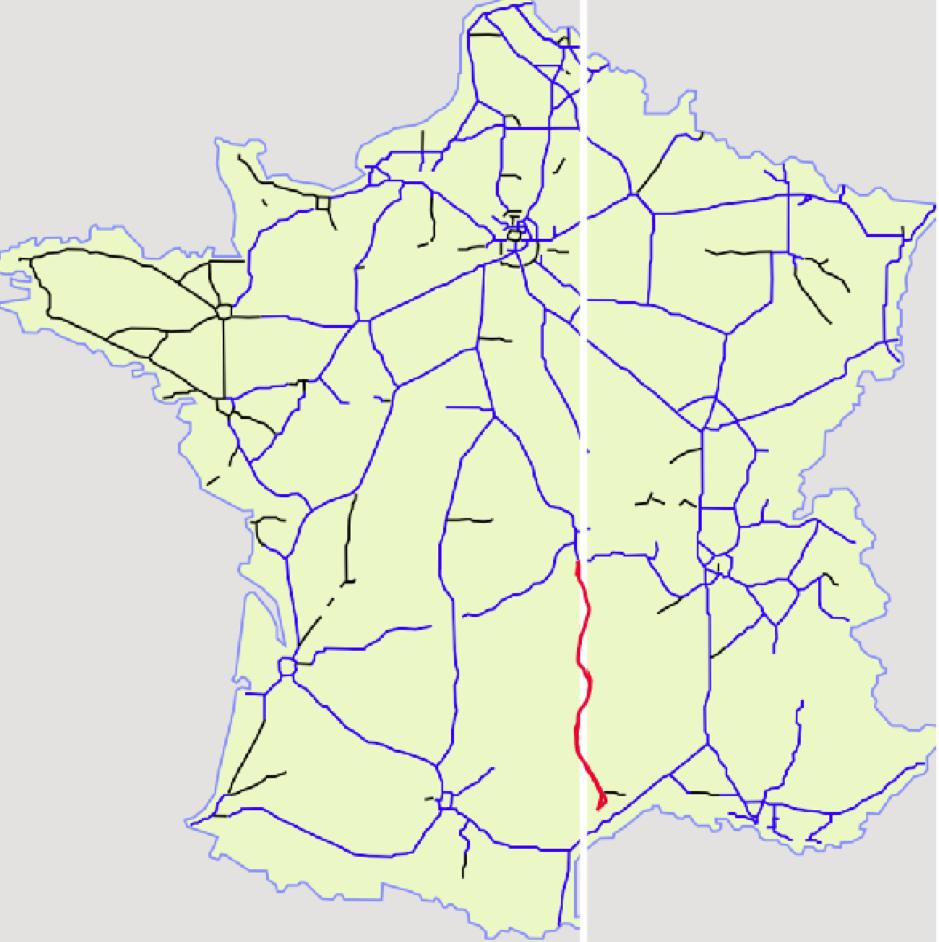 """E 3°7'45"""" / N 45°40'00"""" - 43°14'00"""" // LA MERIDIENNE   (A75):   de clermont-ferrand à narbonne   le ML traverse l'autoroute sans péage aux beaux panoramas"""