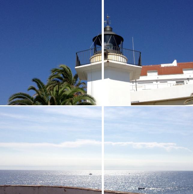 """O 3°7'45"""" / N 41°50'30"""" // PALAMOS (ES): de lichtmeridiaan verlaat het vasteland europa aan de middellandse zee via de 'licht'toren 'el faro' (11).//met de rug naar dit lichtbaken en met het gezicht naar het zuiden, ontdek je op het apogeum op het water een brede lichtlijn, die precies het zuiden aanwijst. foto 14/10/2013 à 13h32"""