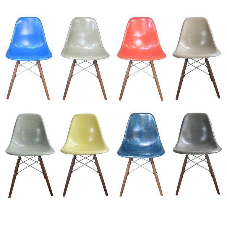 8 Eames DSW Dining Chairs