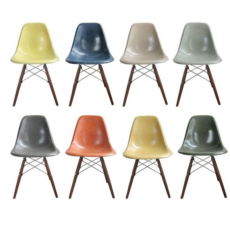eames shell chairs and other dining chairs patina nyc