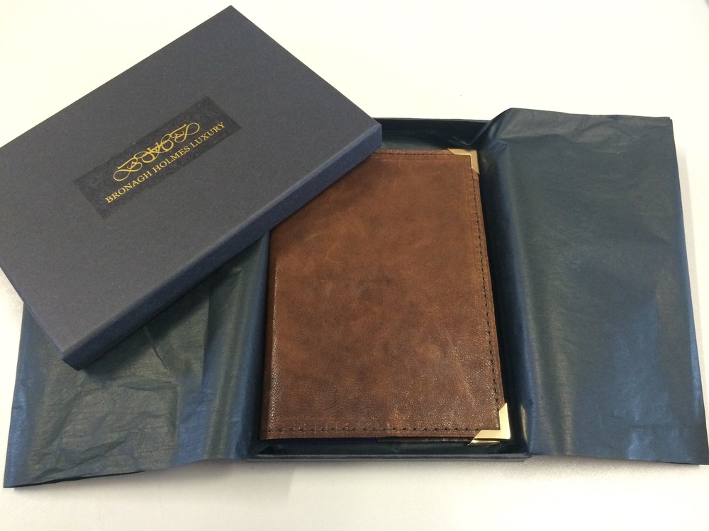 Bronagh Holmes Luxury - Aura - Passport Cover - Chestnut Brown with Gift Packaging