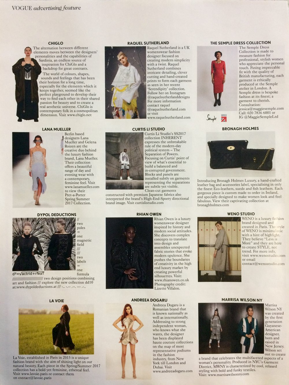Vogue - December 2016 - Designer Profiles