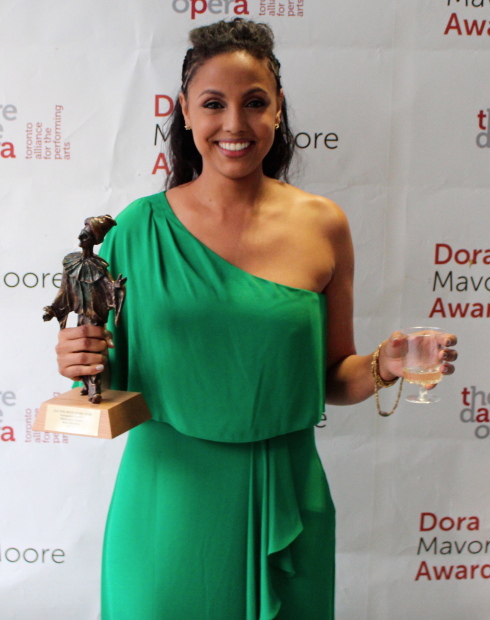 "Outstanding Direction Winner Weyni Mengesha after receiving her award for Why Not Theatre's production of ""Butcher."""