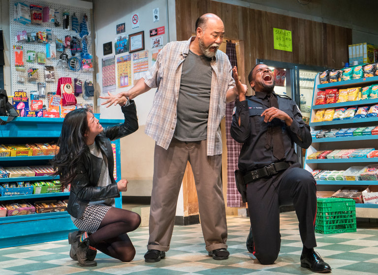 "From left, Rosie Simon, Paul Sun-Hyung Lee and Ronnie Rowe Jr. in ""Kim's Convenience.""     Credit: Sara Krulwich/The New York Times"