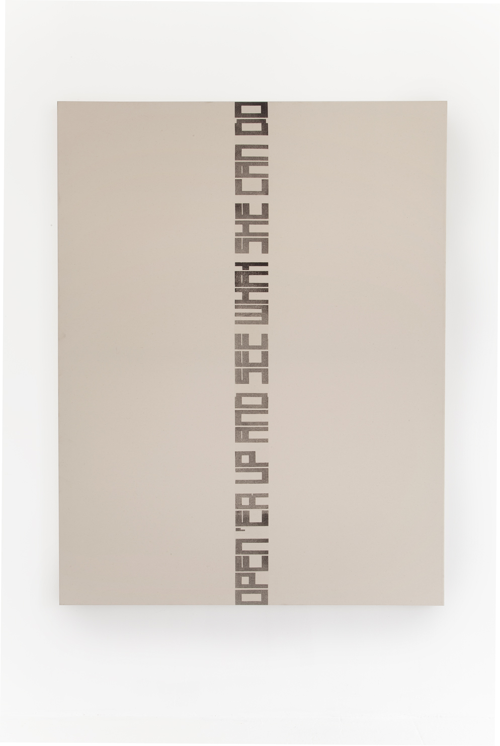 Marlene McCarty   Untitled (Open 'Er Up And See What She Can Do), 1993   Heat transfer on canvas   72 x 62 in.