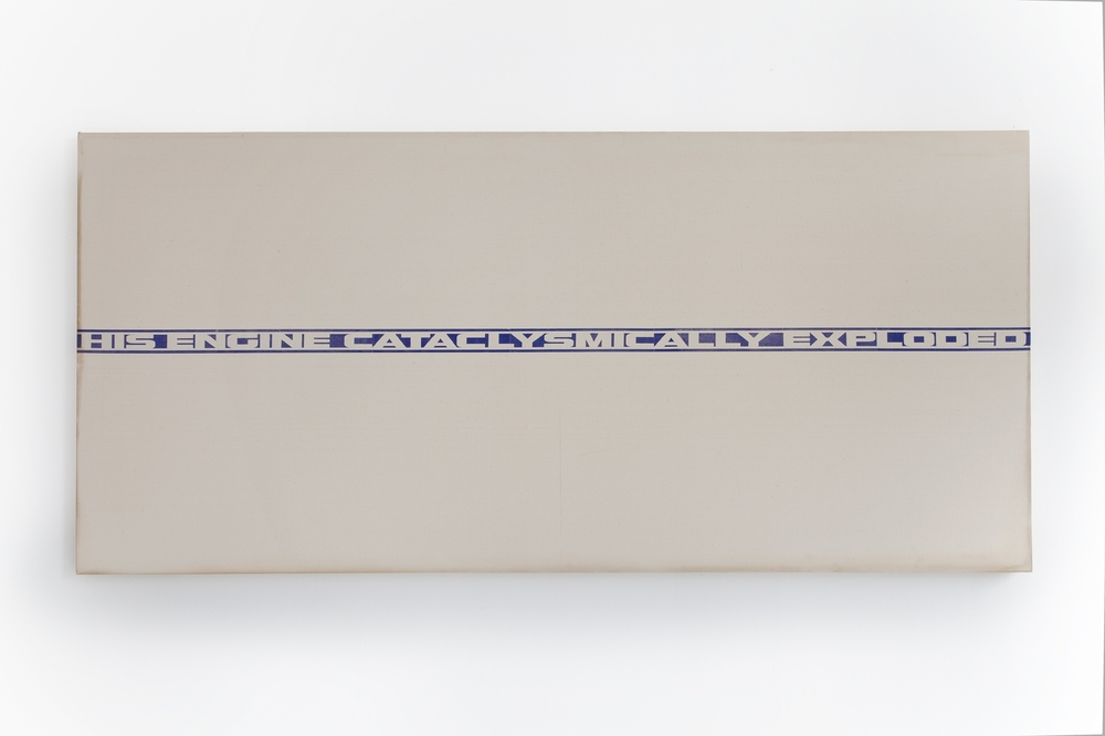 Marlene McCarty   Untitled (His Engine Cataclysmically Exploded), 1990   Heat transfer on canvas   38 x 85 in,.