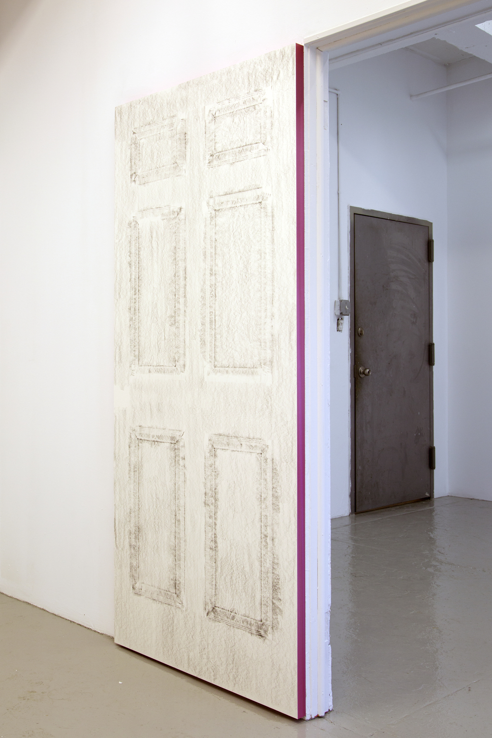 Enzo Shalom A Rubbing of The Door of My House, 2014 Graphite, rice paper, masonite, DecoMetal 36'' x 80''