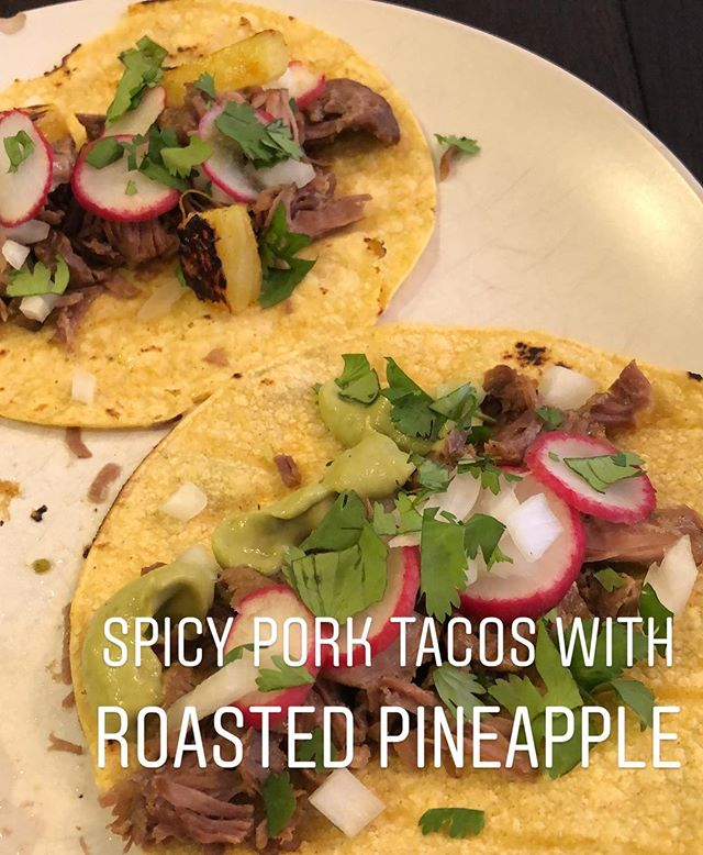 I made tacos out of the spicy pineapple pork from Nom nom paleo. Oh my goodness... so good! 🌮Corn tortilla (browned on the cast iron skillet), pork, diced onion, cilantro, radish, roasted pineapple (10-15 mins in oven at 450 degrees) and green guac salsa (avocado and salsa verde blended smooth)🌮 #tacos #kindapaleo #paleoish #spicypineapplepork #dinnertime #nomnompaleo