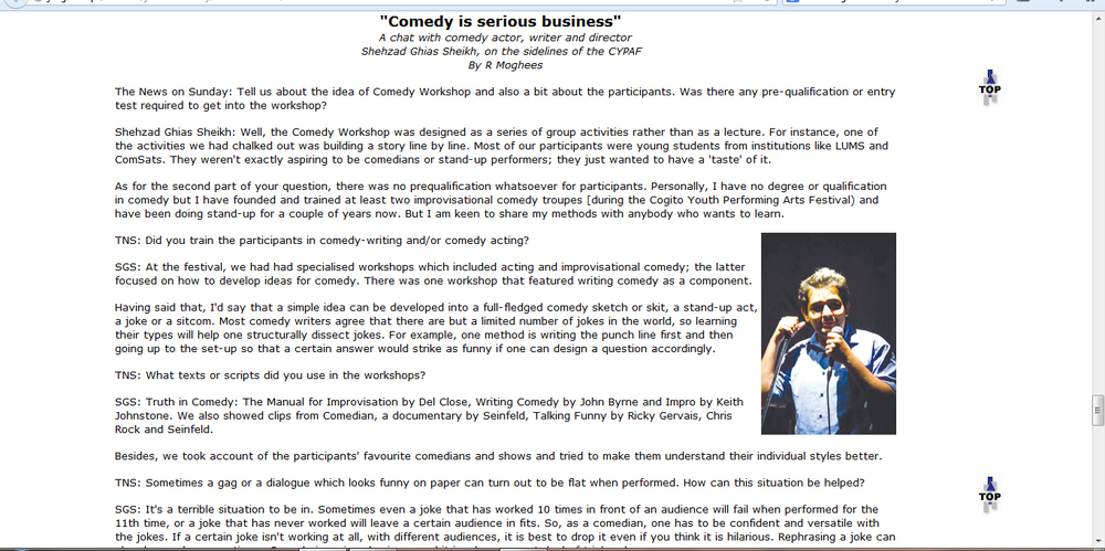 Interview in the News about Comedy workshops