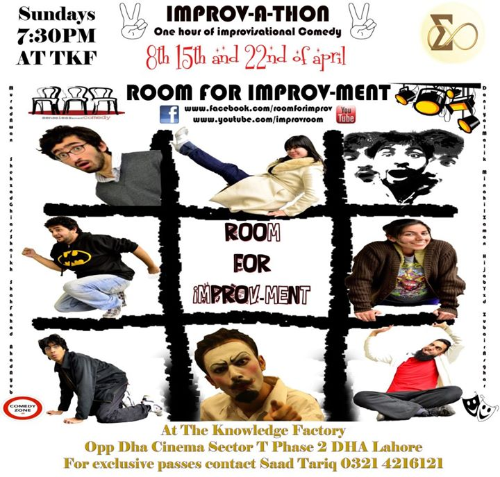 In 2011, Shehzad founded Lahore's first improvisational troupe called 'Room For-Improvment', the troupe involved into its current cast of Daniyal Malik, Shah Fahad, Abdul Ahad Ayub and Shehzad Ghias himself. The troupe has done two national tours and performed over a 100 times at venues all over Pakistan. The troupe has also held improv workshops in Lahore, Karachi and Islamabad.