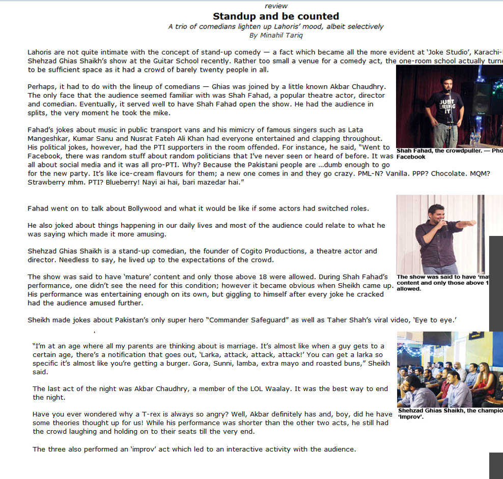 Review of Shehzad's stand up comedy performance at the Guitar School Lahore in The News - July 2013