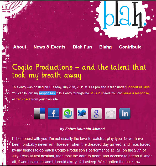 Review of the Final Act by Blah Magazine, Summer 2011.