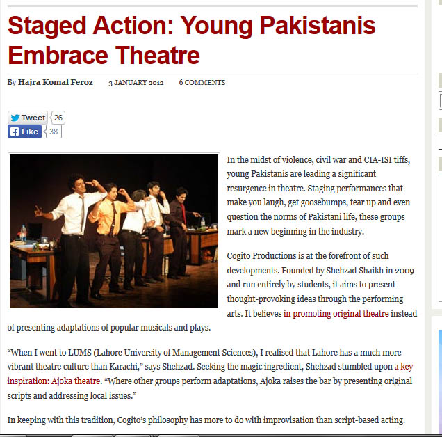 Cogito featured in an article on theatre in Pakistan, Newsline Magazine - January 2012.