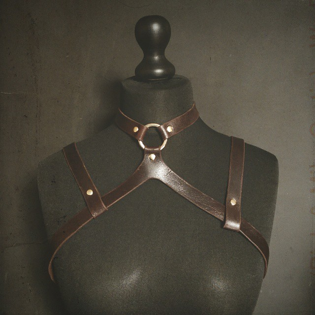 Worked on the mannequin today and produced a new modular harness in the loveliest of leather and brass. #harness #fashion #wip #leather #handmade