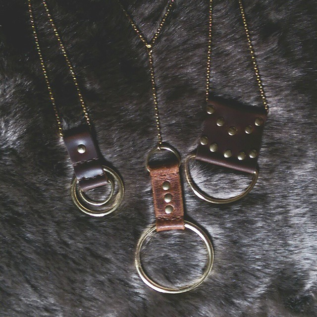 Some new pieces involving leather remnants, saved from landfill, and solid brass hardware