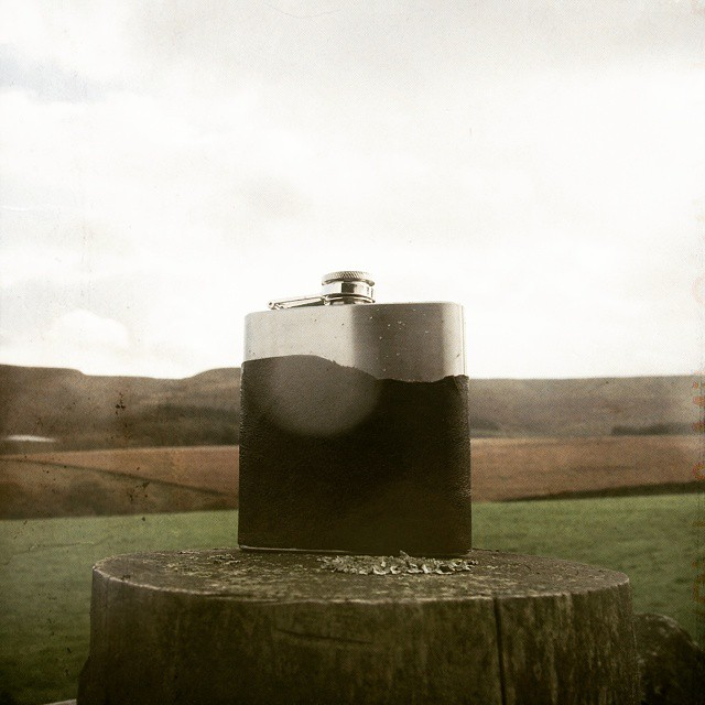 Wishing I was out on the moors today! My 'undressed' flask matching the shape of the Holme Moss hills. (at Holme Moss)