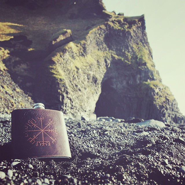 Looking forward to making this available soon! Photographed on our travels in lovely Iceland. #Iceland #hipflask #whisky #whiskey #handmade (at Black Sand Beach, Vík)