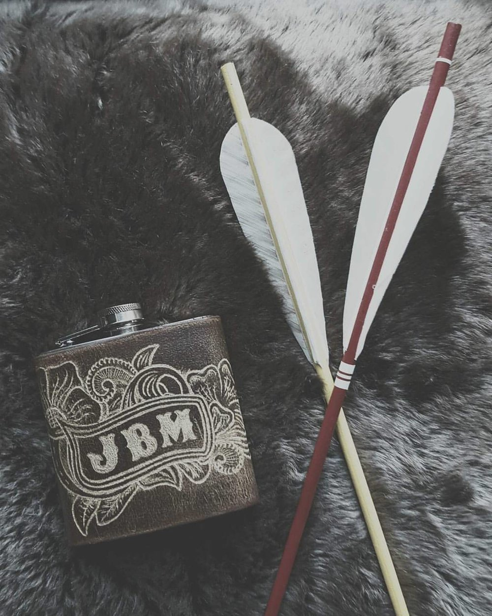 Cowboy Carving Hip Flask