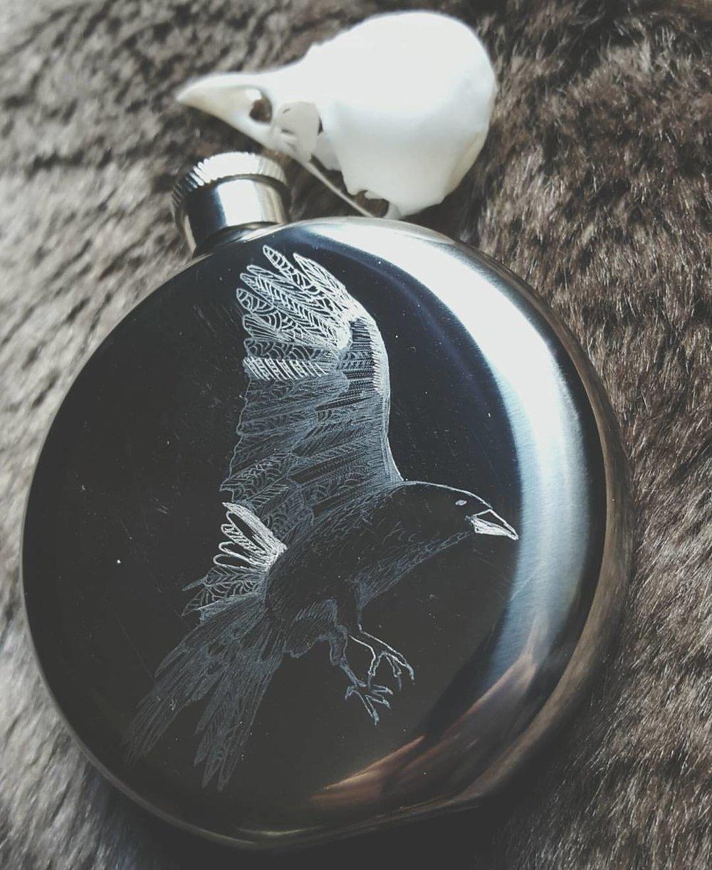 Raven Engraved Flask