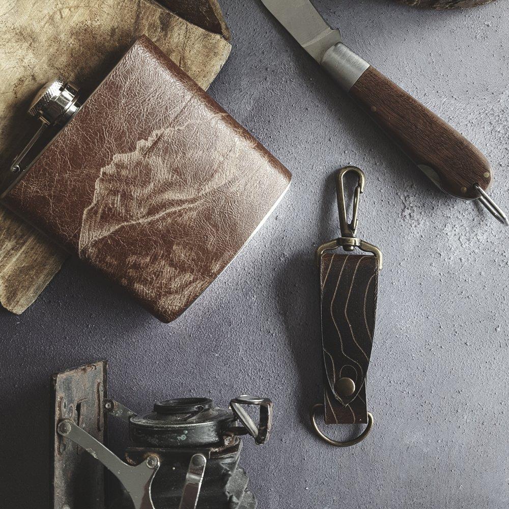 Custom mountain Hip Flask and Key Fob