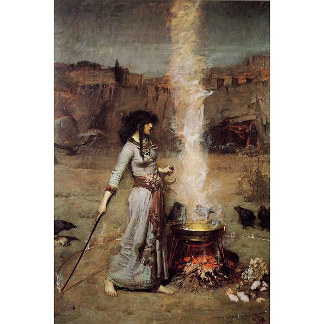 ✨🌙🔮 The end of Mercury retrograde has me like ☝️ Happy Friday the 13th! 🔮🌙✨ . John William Waterhouse || The Magic Circle || 1886
