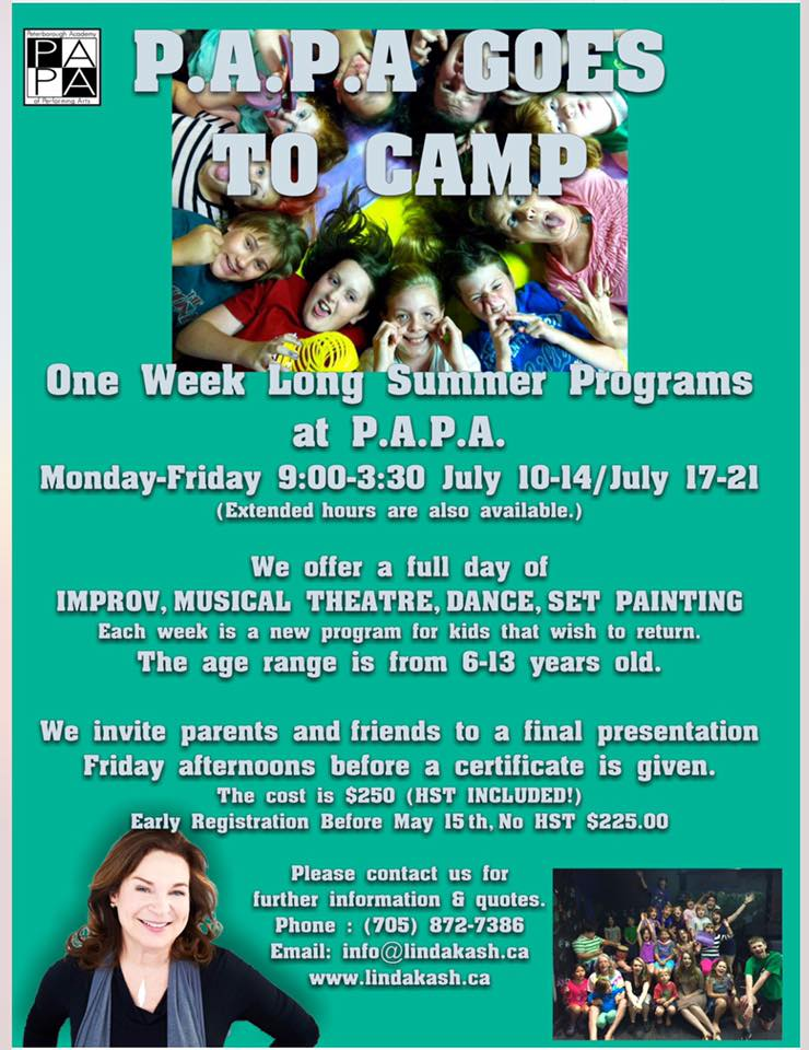 Iu0027m Joining Linda Kash And Her Team At P.A.P.A For Their One Week Long  Summer Programs! Come Have Some FUN With Us! We Offer A Full Day Of Improv,  ...