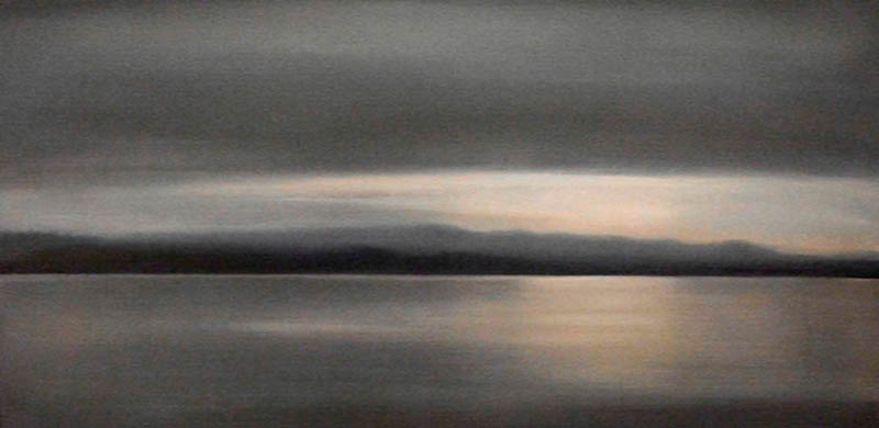 Coastal Range from Quadra II , 2008, Oil on Canvas, 18 x 36, sold
