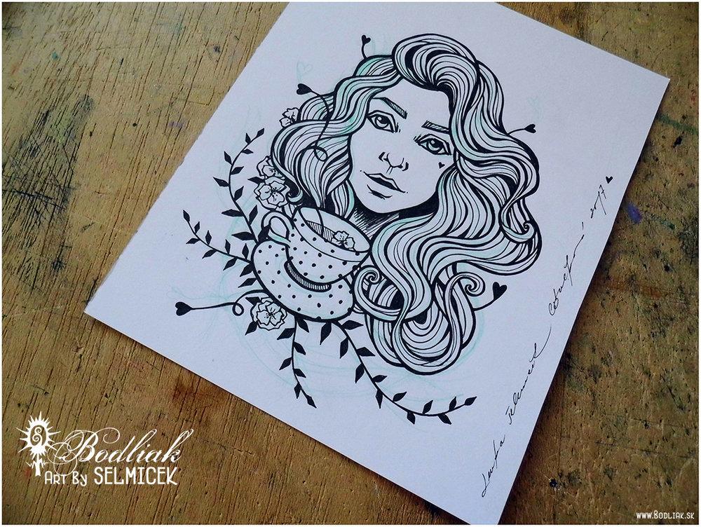 Žienka so šálkou autor: Selmicek 18cm x 14cm ... cena za tetovanie v danej veľkosti 100,- eur
