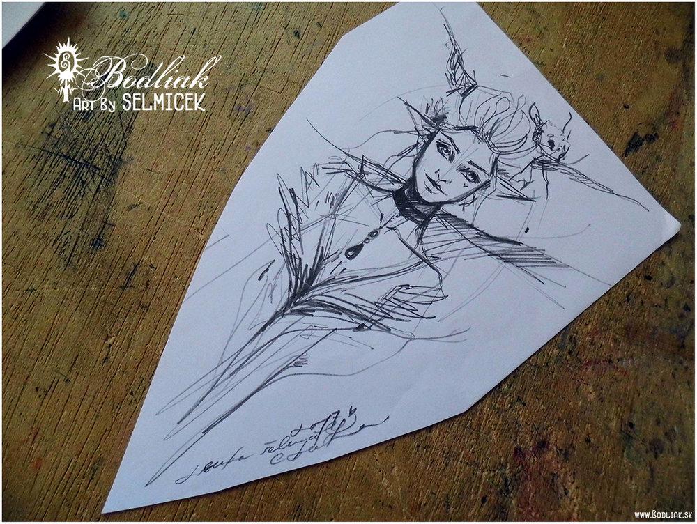 Elfka autor: Selmicek 22cm x 14cm ... cena za tetovanie v danej veľkosti 80,- eur