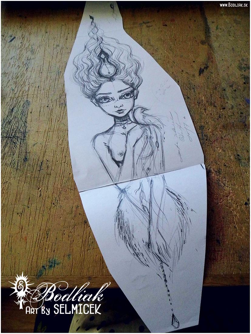 Dievča s vtáčikom na ramene autor: Selmicek 37,5cm x 10cm ... cena za tetovanie v danej veľkosti 100,- eur