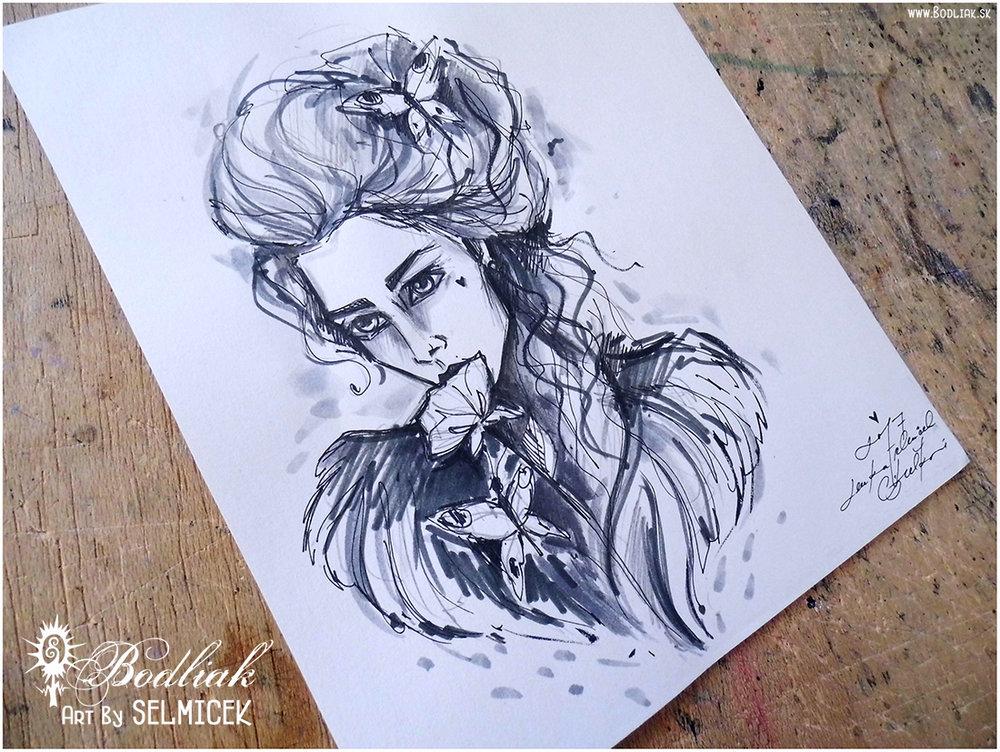 Žienka s motýlmi autor: Selmicek 18,5cm x 13cm ... cena za tetovanie v danej veľkosti 100,- eur