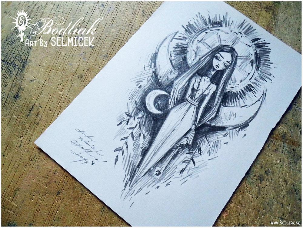 Nočná žienka ... REZERVOVANÁ   autor: Selmicek  20cm x 12cm ... cena za tetovanie v danej veľkosti 120,- eur