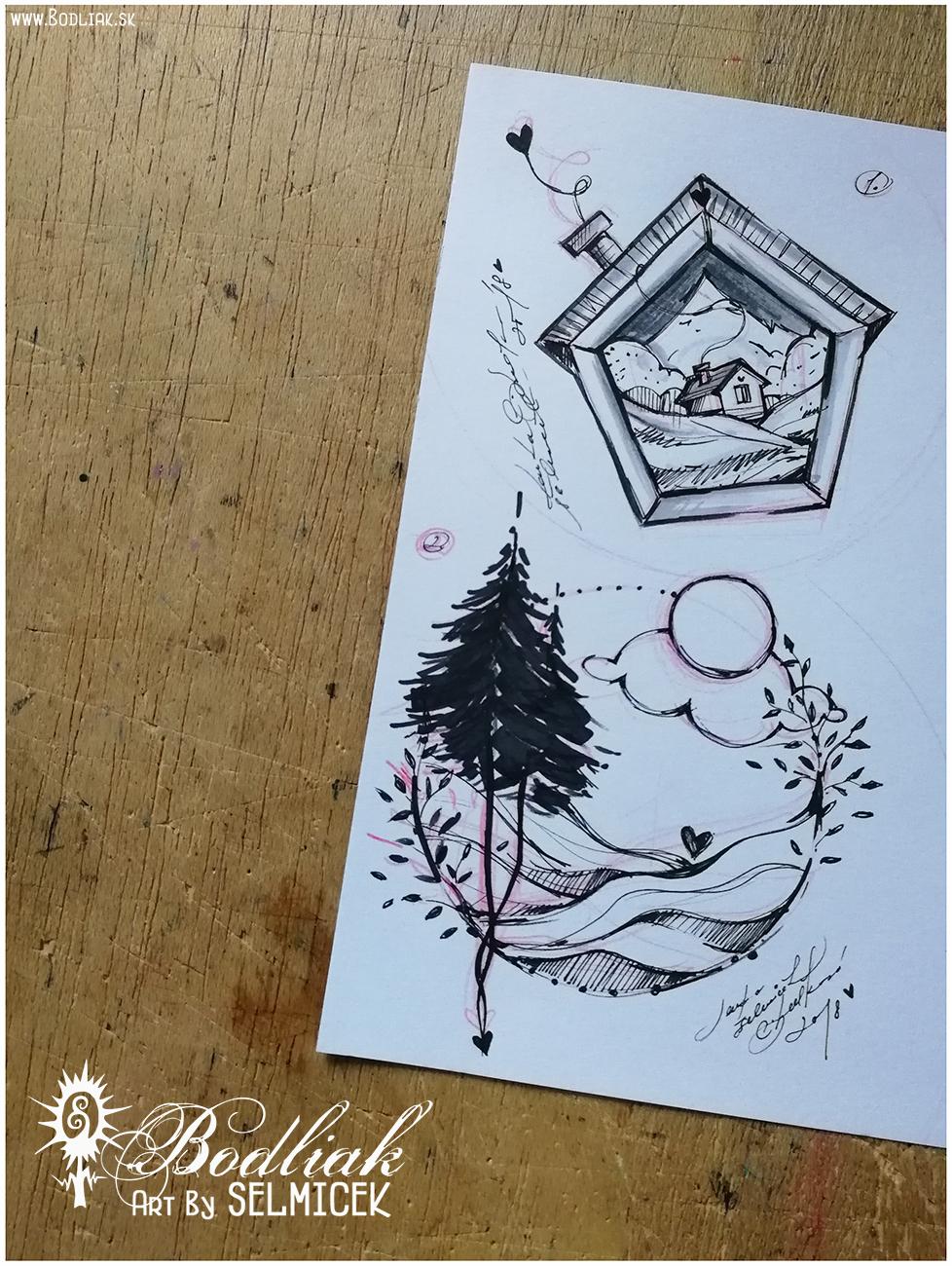 Domček v domčeku a môj kľud (krajina v kruhu)   autor: Selmicek   Domček v domčeku  - 8,5cm x 9cm ...  Krajina v kruhu - môj kľud  - 11,5cm x 10cm