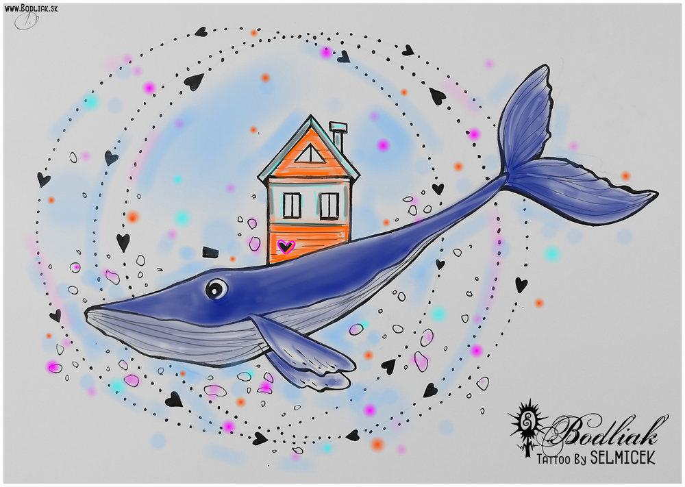 Veľryba - plutvotvor   autor: Selmicek  12cm x 18cm